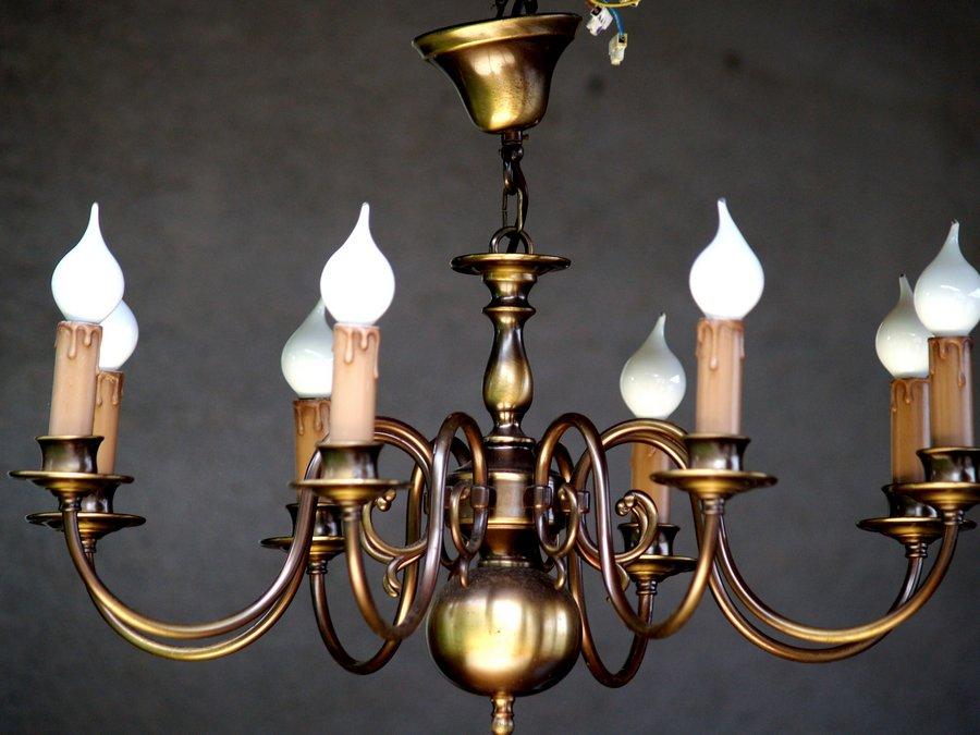 gro er polenluster pendellampe h ngelampe kronleuchter messing 8 flammig golden. Black Bedroom Furniture Sets. Home Design Ideas
