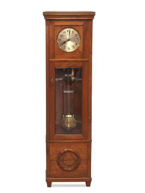 Standuhr Gezeichnet Antike Standuhr Uhr Holzgehäuse Gewichter Pendel  Jugendstil .