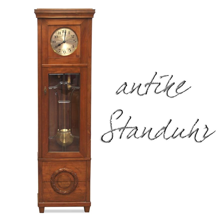 Standuhr gezeichnet  Antike Standuhr Uhr Holzgehäuse Gewichter Pendel Jugendstil ...