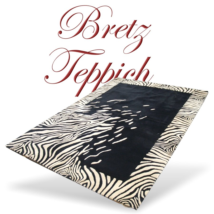 BRETZ Teppich Designerinterior schwarz weiß passend zu
