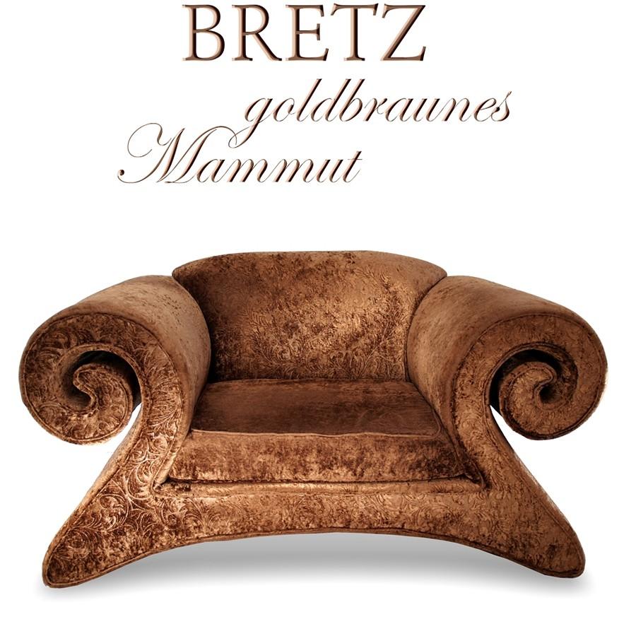 bretz mammut sessel stuhl design m bel goldbrauner armlehnsessel traumteil ebay. Black Bedroom Furniture Sets. Home Design Ideas
