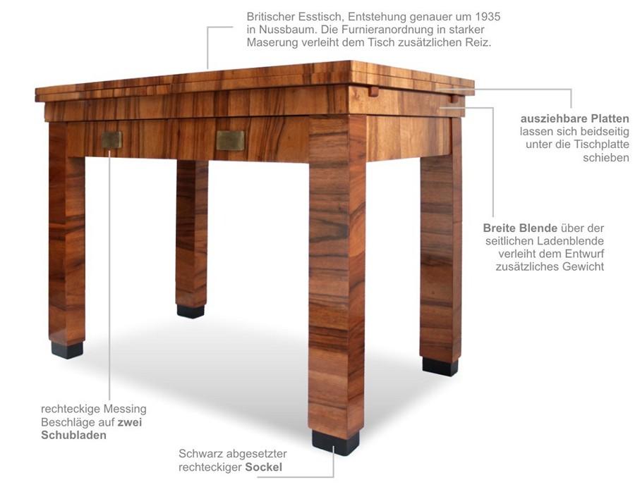 antiker tisch art deco nussbaum furnierter artdeco ausziehtisch saniert top ebay. Black Bedroom Furniture Sets. Home Design Ideas