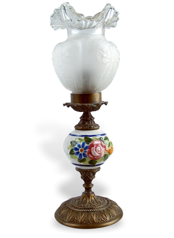 tischlampe mit sch nem glasschirm alte lampe messing bronze keramik leuchter ebay. Black Bedroom Furniture Sets. Home Design Ideas