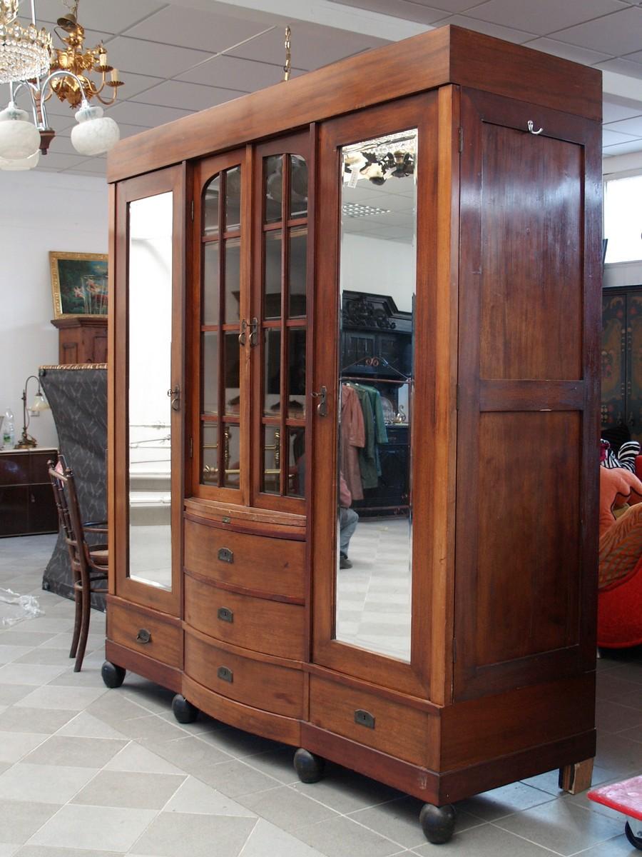 gro er b cherschrank jugendstil vitrine kasten m bel schrank f r herrenzimmer ebay. Black Bedroom Furniture Sets. Home Design Ideas