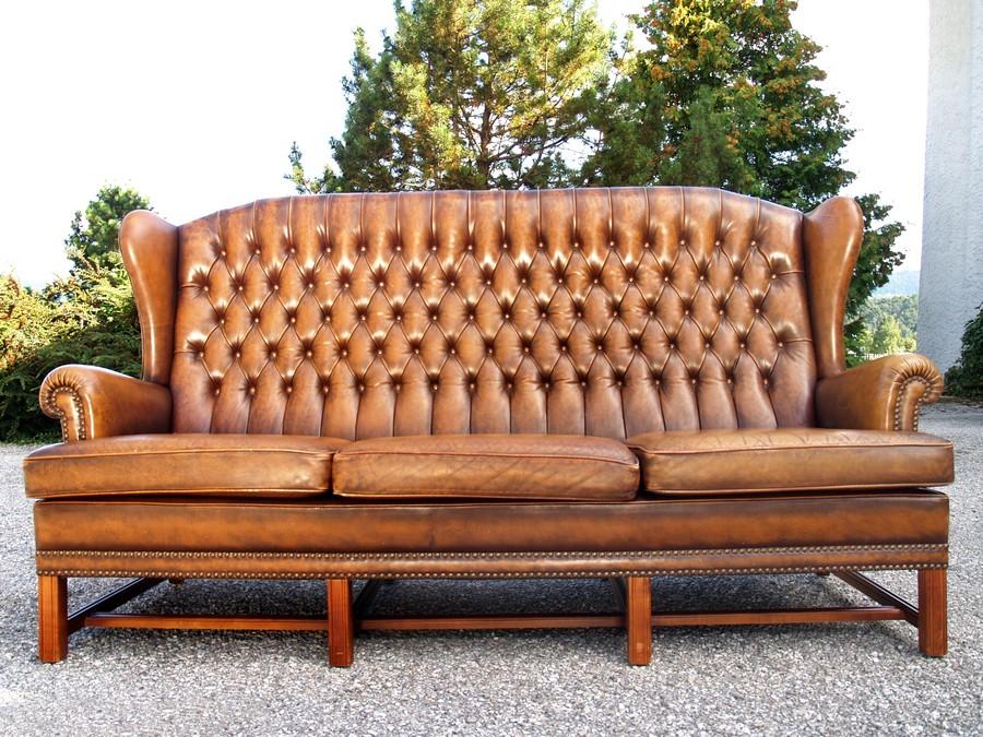 ledersofa chesterfield leder sofa mit knopfheftung. Black Bedroom Furniture Sets. Home Design Ideas